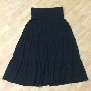 Express Black Maxi Tiered Skirt